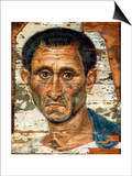 Portrait of a Middle-Aged Man in a Blue Cloak, Romano-Egyptian Mummy Portrait, Late 1st Century Posters