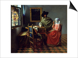 The Glass of Wine, Ca 1661 Plakater af Jan Vermeer