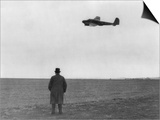 Winston Churchill, Photographed from Behind, Watching B-17 'Flying Fortress' in Flight, July 1940 Print