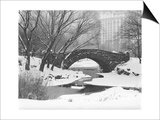 Gapstow Bridge, Central Park, Ny in Snow Prints by Henri Silberman