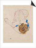 Egon Schiele - Nude with Blue Stockings, Bending Forward, 1912 Plakát