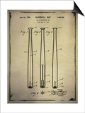 Baseball Bat Patent Buff Posters