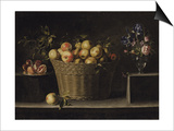 Apples in a Wicker Basket, an Pomegranate on a Silver Plate and Flowers in a Glass Vase Prints by Juan De Zurbaran