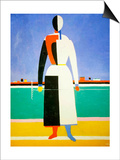 Woman with a Rake, 1928-1932 Poster af Kazimir Malevich