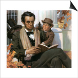 Abraham Lincoln Reading to Young Boy Prints