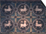 Fresco of Lions on Decorative Ground, 11th C Prints
