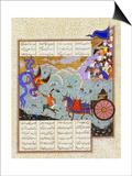 Esfandiyar Murders Simurgh (Manuscript Illumination from the Epic Shahname by Ferdows) Posters