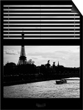 Window View - Color Sunset in Paris with the Eiffel Tower and the Seine River - France - Europe Prints by Philippe Hugonnard