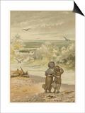 Children Watching Waves Prints by M Ellen Edwards