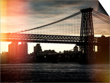 Instants of NY Series - The Williamsburg Bridge at Nightfall - Lower East Side of Manhattan Poster by Philippe Hugonnard