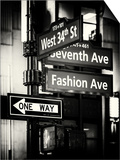 NYC Street Signs in Manhattan by Night - 34th Street, Seventh Avenue and Fashion Avenue Signs Prints by Philippe Hugonnard