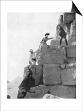 Climbing the Great Pyramid, Egypt, Late 19th Century Print by John L Stoddard