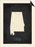Black Map Alabama Print by Rebecca Peragine