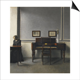 Ida in an Interior with Piano Poster by Vilhelm Hammershoi