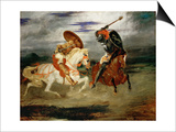 Knights Fighting in the Countryside Affiches par Eugène Delacroix