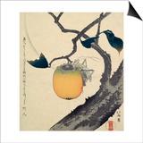 Moon, Persimmon and Grasshopper, 1807 Kunstdrucke von Katsushika Hokusai
