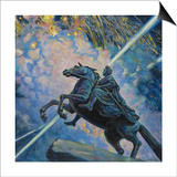 Fireworks. the Bronze Horseman Prints by Boris Michaylovich Kustodiev