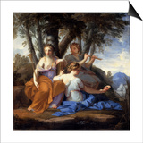 The Muses Clio, Euterpe, and Thalia Art by Eustache Le Sueur