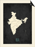 Black Map India Prints by Rebecca Peragine