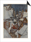 Santa and Sleigh, Rooftops Prints by Arthur Rackham