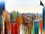 Urban Stretch Series - Skyline of Manhattan at Sunset - New York Prints by Philippe Hugonnard