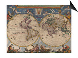 Double Hemisphere Map of the World Prints by Joan Blaeu