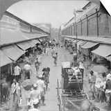 One of the Chief Native Market Streets, Rangoon, Burma, 1908 Poster