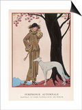 Lady and Saluki 1922 Prints by Georges Barbier