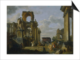 Architectural Capriccio of the Roman Forum with Philosophers and Soldiers Among Ancient Ruins Art by Giovanni Paolo Panini