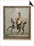 Dragoon Officer of the Royal Saxon Army Print by Alexander Ivanovich Sauerweid