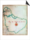 Map of Barbados, 1683 Art