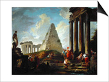 Alexander the Great before the Tomb of Achilles Prints by Hubert Robert