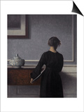 Interior with Young Woman from Behind Print by Vilhelm Hammershoi