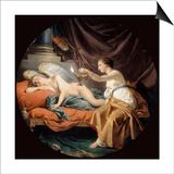 Psyche Surprising Sleeping Cupid Plakat af Louis-Jean-Francois Lagrenee
