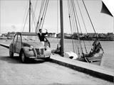 A Citroen 2CV on the Quay at a Harbour, C1957 Posters