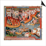 Marco Polo Sailing from Venice in 1271 Posters