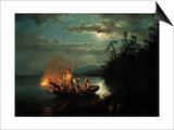 Night Spear Fishing on the Kroderen Lake Poster by Hans Gude