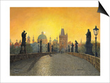 Misty Dawn Charles Bridge Prague Prints by Richard Harpum