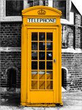 Red Phone Booth in London painted Yellow - City of London - UK - England - United Kingdom - Europe Posters by Philippe Hugonnard