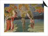 The Baptism of Christ (Predella Pane), 1454 Kunst af Giovanni di Paolo
