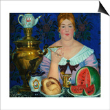 The Merchant's Wife Drinking Tea, 1923 Posters by Boris Michaylovich Kustodiev