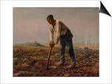 Man with a Hoe, 1860-1861 Print by Jean-François Millet