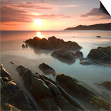 Sunset on Barricane Beach, Woolacombe, Devon, England. Summer Posters by Adam Burton