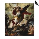 Saint Michael Vanquishing Satan Art by Francesco Maffei
