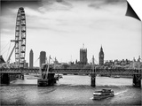 The Millennium Wheel and Houses of Parliament - Views of Hungerford Bridge and Big Ben - London Print by Philippe Hugonnard