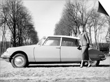 Model with a 1957 Citroen Id 19, C1957 Prints