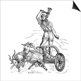 Thor Riding in Chariot Drawn by Goats and Wielding His Hammer Reprodukcje