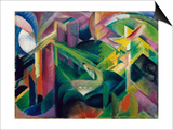 Deer in Cloister Garden Prints by Franz Marc