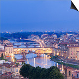 Italy, Italia. Tuscany, Toscana. Firenze District. Florence, Firenze. Ponte Vecchio and Arno River Art by Francesco Iacobelli