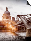 Millennium Bridge and St. Paul's Cathedral - City of London - UK - England - United Kingdom Posters by Philippe Hugonnard